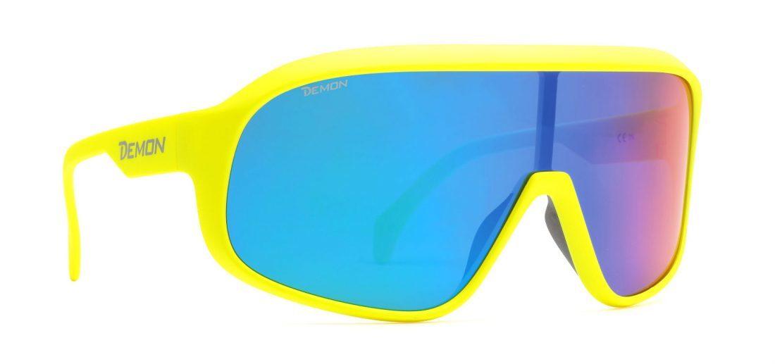 Occhiali da sci polarizzati a mascherina modello CRASH giallo fluo opaco