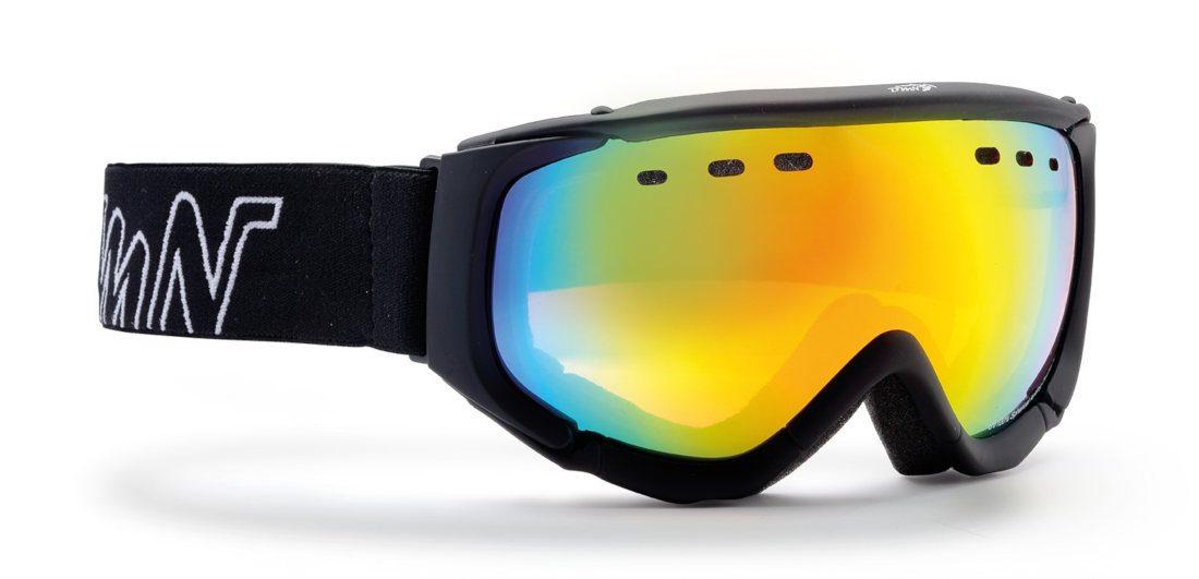 Maschera da sci con lente specchiata gialla matrix colore total nero