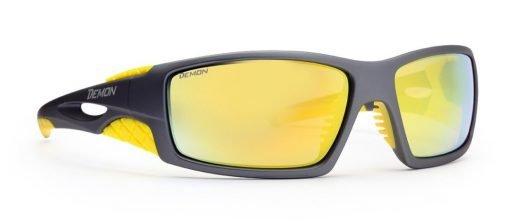 Occhiale da sci con lenti specchiate dome grigio opaco giallo