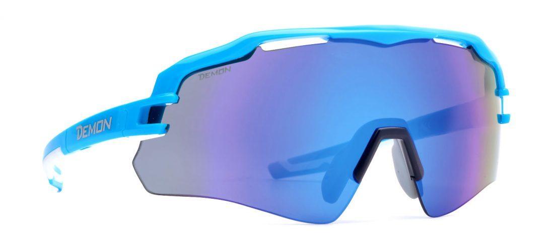 Occhiale da sci monolente specchiato modello IMPERIAL azzurro lucido