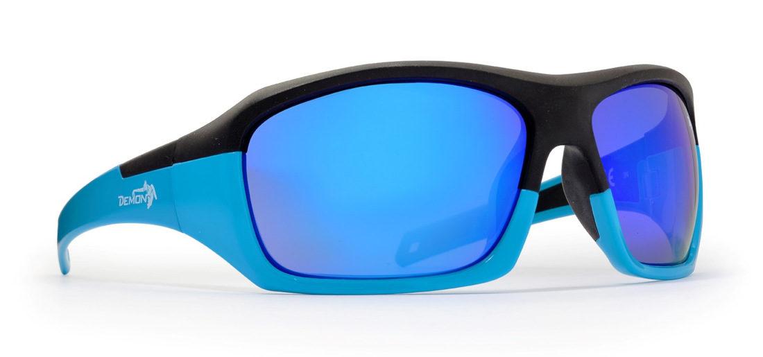 Occhiale da sci sportivo modello SOLID Nero Blu