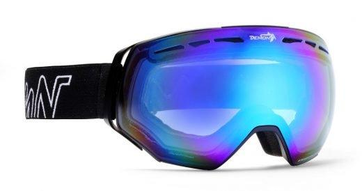 Maschera da neve per occhiali da vista con lente specchiata blu modello ALPINER