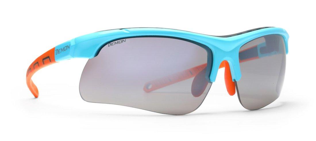 Occhiale per running su asfalto con lenti intercambiabili modello infinite optic azzurro