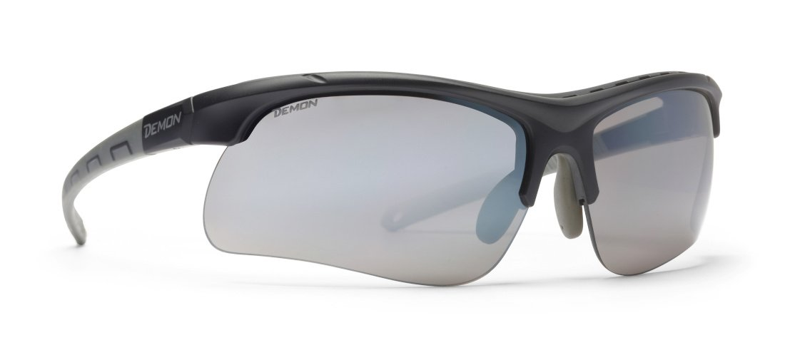 Occhiale per trail running con 3 lenti intercambiabili modello infinite optic nero opaco grigio