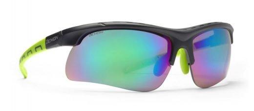 Occhiali per running e trail running con 3 lenti in dotazione modello INFINITE OPTIC nero opaco verde