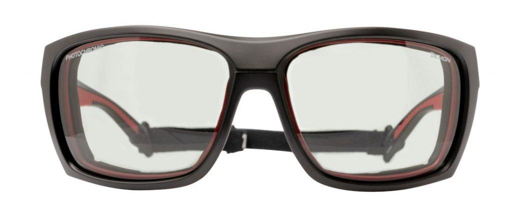 occhiale da alpinismo lente fotocromatica 2-4 per escursioni in alta montagna modello eiger nero rosso
