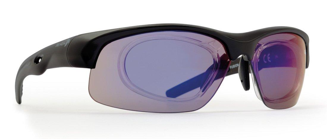 Occhiale da vista sportivo nero opaco per tutti gli sport modello FUSION