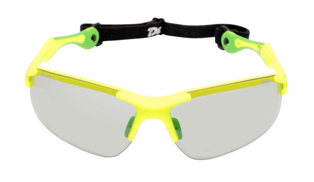 Occhiale fotocromatico per corsa su strada e maratona con cordino elastico giallo fluo modello trail