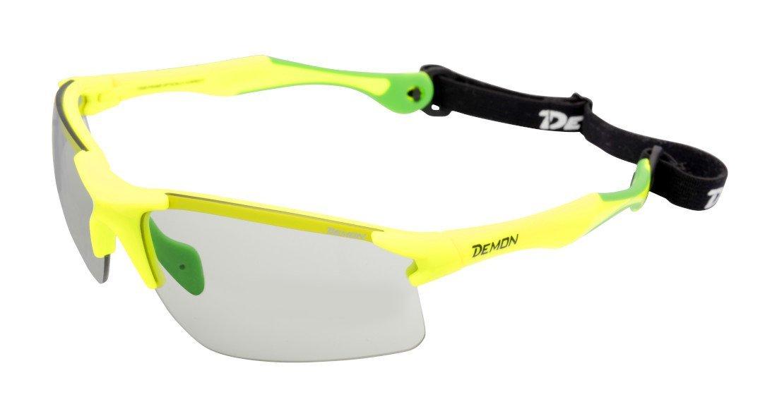 occhiale per corsa campestre e trail running con lenti fotocromatiche dchrom e cordino elastico modello trail giallo fluorescente