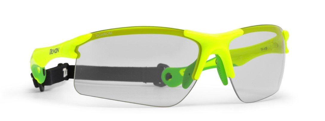 Occhiale per running e Trail lente fotocromatica con cordino elastico colore giallo fluo modello trail