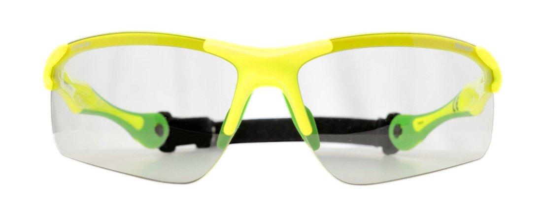 occhiale per trail running lenti fotocromatiche giallo fluo con cordino elastico modello trail