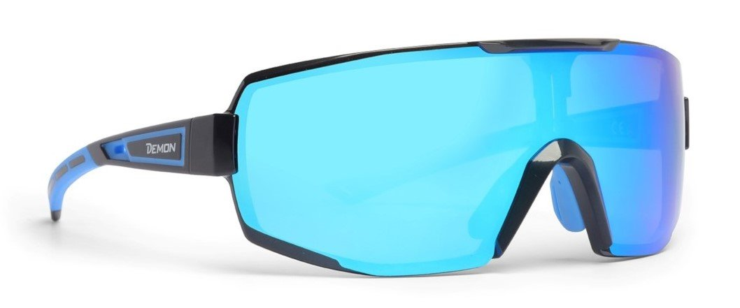 Occhiale sportivo monolente specchiata dmirror modello performance nero blu