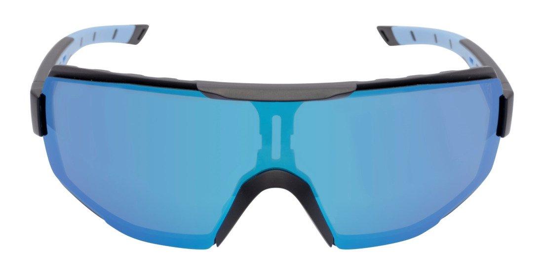 occhiale sportivo per beach volley specchiato a mascherina lente dmirror modello performance nero blu