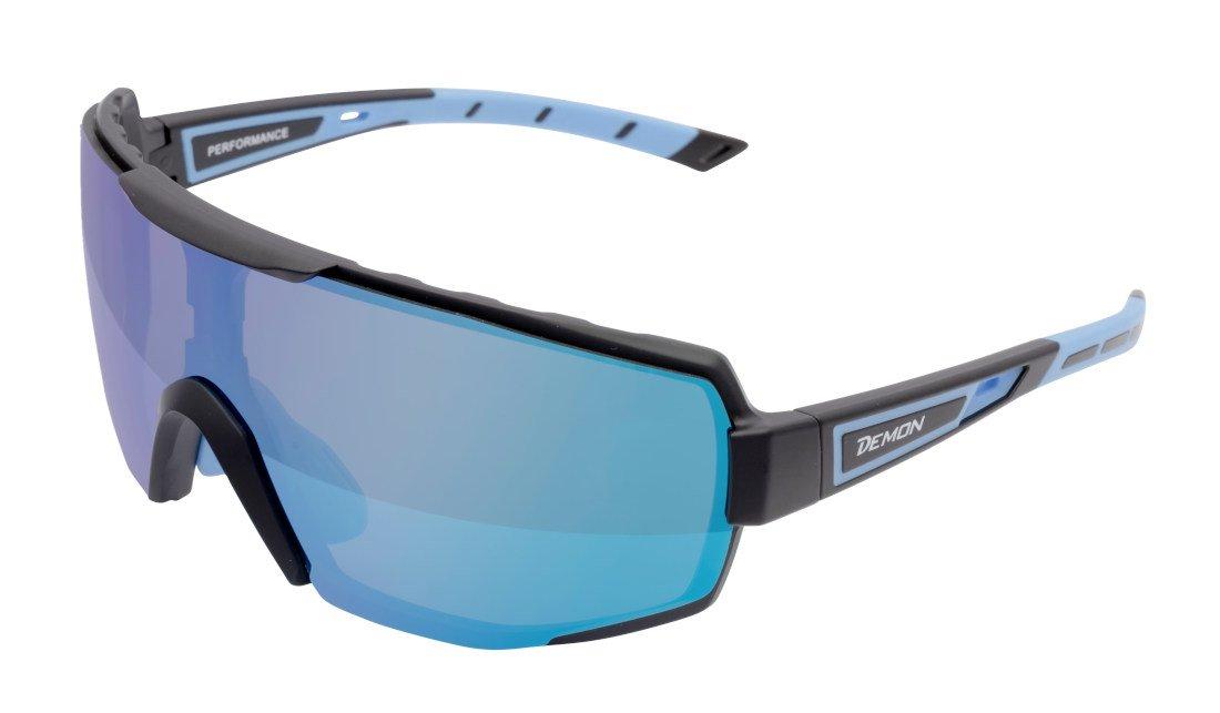 occhiale sportivo specchiato a mascherina per golf modello performance nero opaco