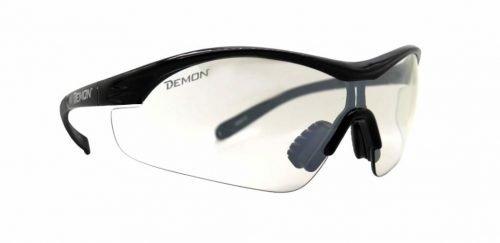 Occhiali da ciclismo con lente trasparente per notturna modello VENTO nero lucido