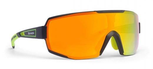 Occhiali da ciclismo e mountain bike lente specchiata dmirror modello PERFORMANCE nero giallo