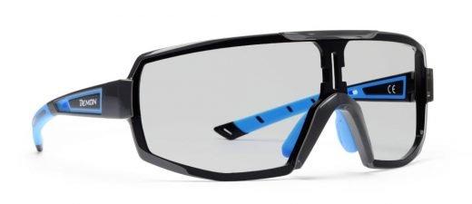 Occhiali da ciclismo e Mountain bike monolente fotocromatica dchrom modello performance nero blu