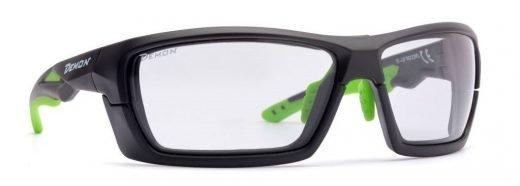 occhiali da ciclismo e mtb con montatura removibile lente fotocromatica dchrom modello record nero opaco verde