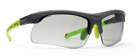 occhiali da ciclismo e mtb lenti fotocromatiche dchrom e spugna parasudore modello infinite optic nero verde
