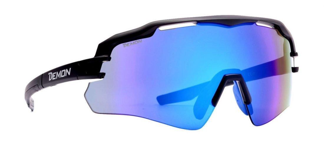 Occhiali da ciclismo monolente con lente specchiata multilayer blu modello imperial colore nero opaco