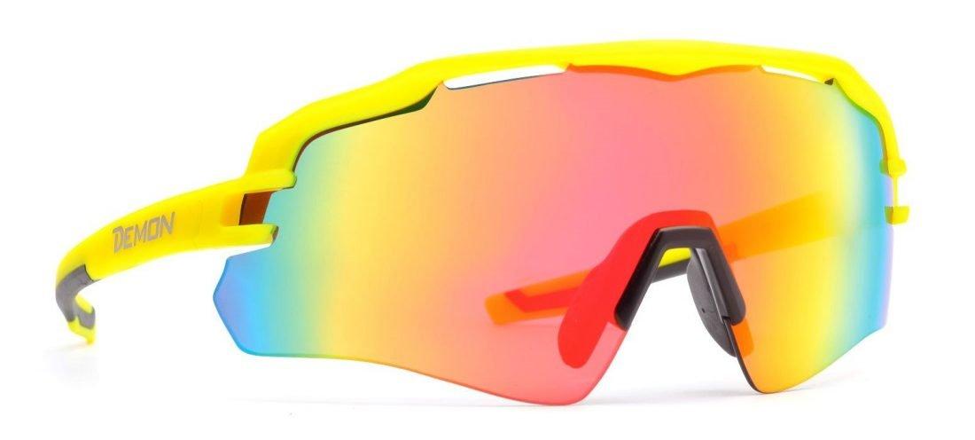 occhiali da ciclismo monolente specchiati modello IMPERIAL giallo fluo opaco