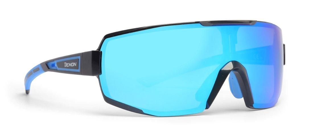 Occhiali da ciclismo per bici da corsa lente specchiata dmirror modello performance colore nero blu