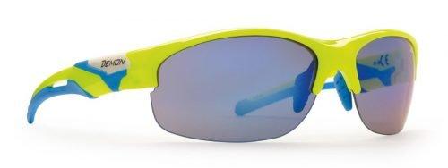 occhiali da ciclismo per bici da corsa lenti intercambiabili specchiate modello TOUR giallo Fluo