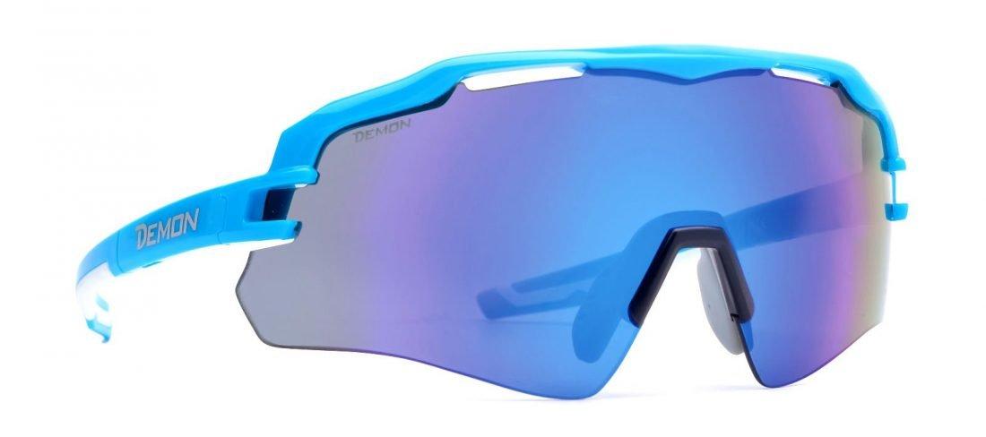 Occhial ida ciclismo per bici da corsa modello IMPERIAL azzurro con lente specchiata blu
