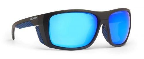 Occhiali da montagna per alpinismo lenti categoria 4 specchiate modello EIGER nero opaco blu