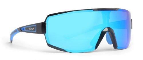 Occhiali da running e trail running lente dmirror specchiata modello performance nero blu