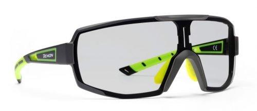 Occhiali da running e trail running monolente fotocromatica dchrom modello performance nero giallo