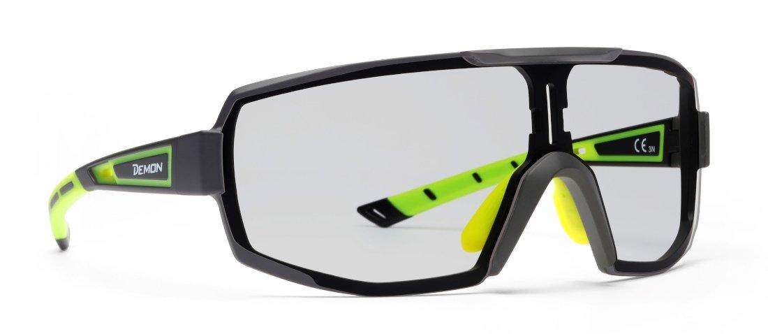 Occhiali da vista per ciclismo e running monolente fotocromatica dchrom modello perfromanche rx nero giallo