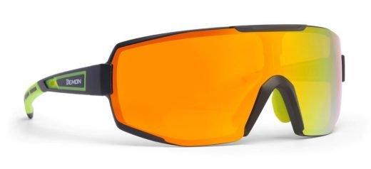 Occhiali da vista sportivi monolente specchiata per running e ciclismo e tutti gli sport performance rx nero giallo