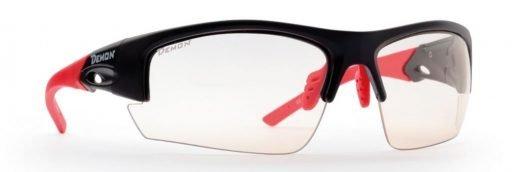 Occhiali per trail running lenti fotocromatiche modello iron nero opaco rosso