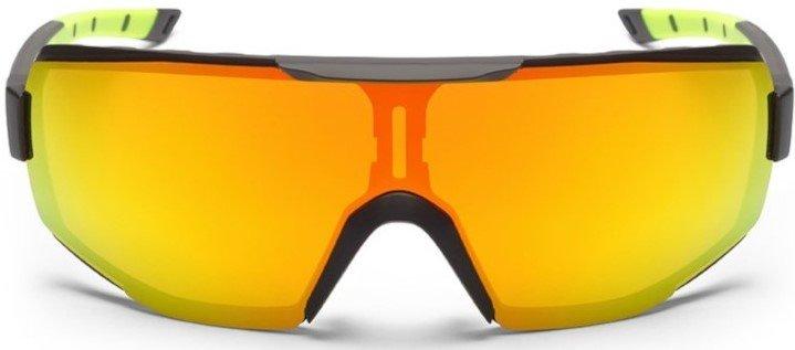 Occhiali sportivi con lente specchiata dmirror multilayer modello performance nero giallo