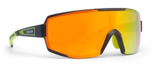 occhiali sportivi monolente specchiata modello performance nero giallo