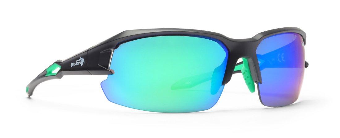 Occhiali sportivi specchiati con lenti intercambiabili per running e triathlon modello TIGER nero verde