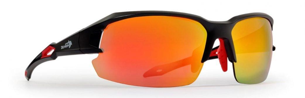 Occhiale da running su strada lenti specchiate intercambiabili modello tiger nero opaco rosso