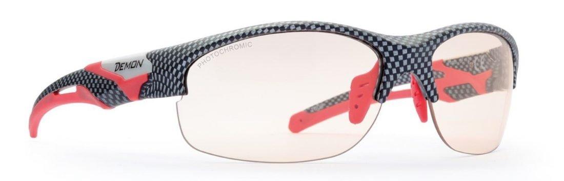 Occhiale per trail running lente fotocromatica modello tour colore carbonio rosso