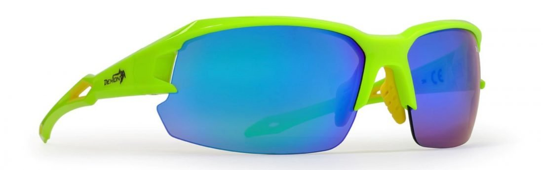Occhiale per triathlon lenti specchiate intercambiabili dchange giallo fluo