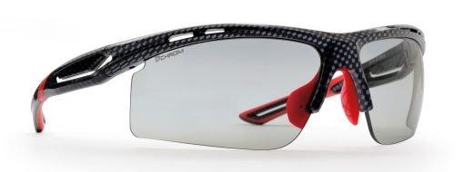 Occhiali da running trail running triathlon lenti fotocromatiche dchrom modello cabana carbonio rosso