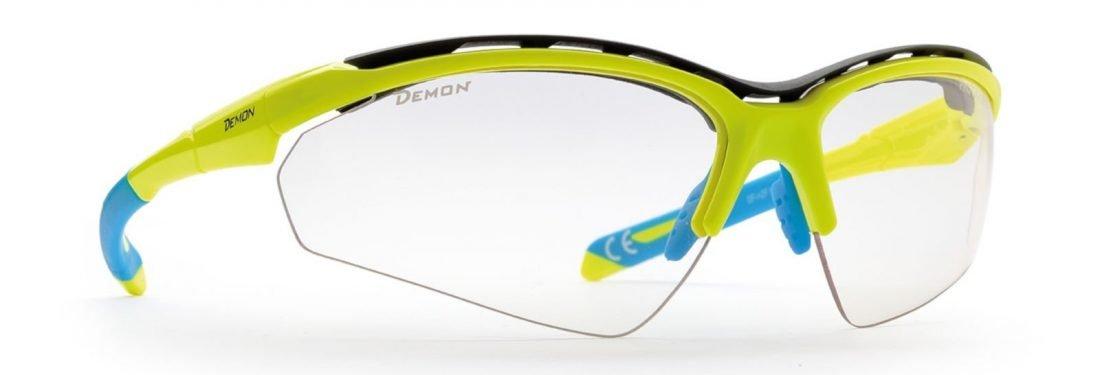 Occhiali per running e trail running spugna parasudore lenti fotocromatiche modello hero giallo fluo