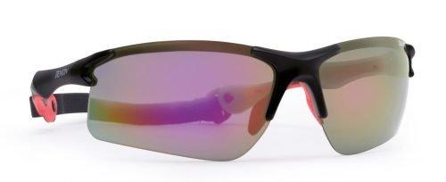 Occhiali per running e trail running lenti specchiate intercambiabili modello TRAIL nero opaco rosso