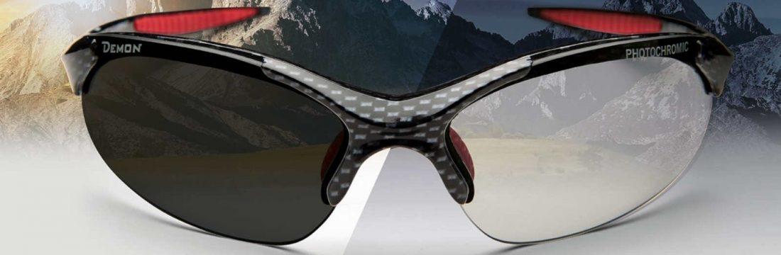 occhiali sportivi per tutti gli sport con lenti fotocromatiche dchrom modello 832 carbonio rosso