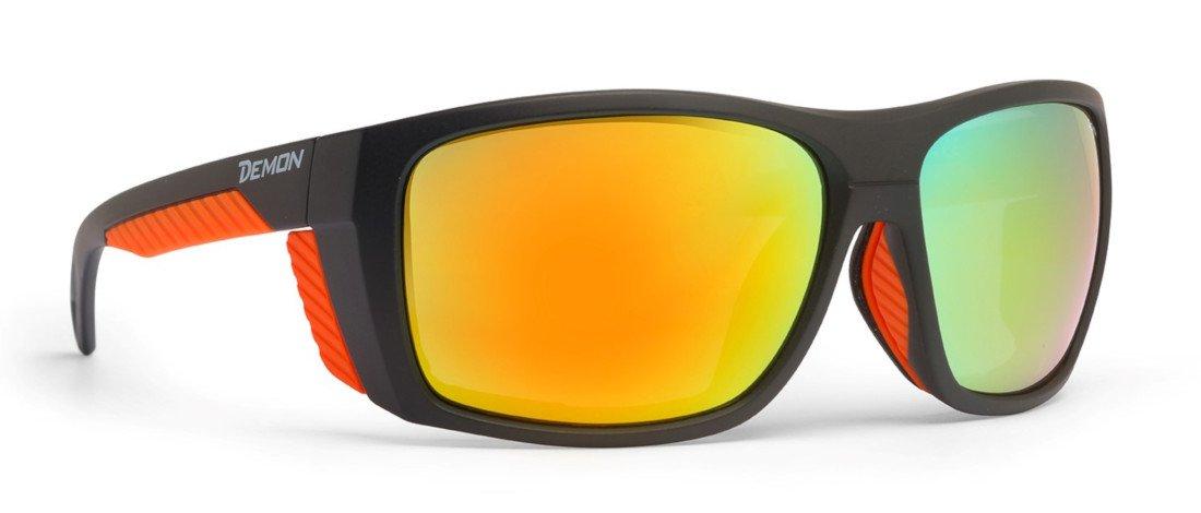 occhiale da alpinismo per escursioni in alta montagna lenti categoria 4 eiger nero arancio