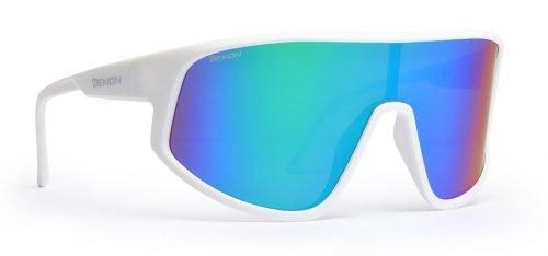 occhiale da ciclismo per bici da corsa specchiata blu dmirror modello alliance bianco opaco