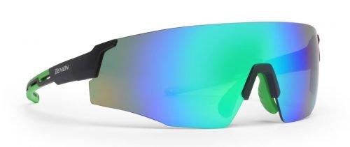Occhiale per running lente unica specchiata ultraleggero modello road nero verde