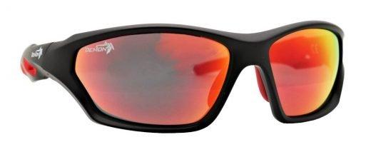 occhiale sportivo lenti specchiate rosse modello galaxy nero opaco