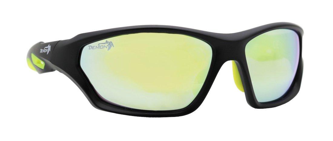 Occhiale sportivo multisport lenti specchiate gialle modello galaxy nero opaco giallo