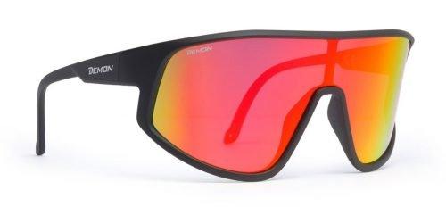 Occhiali da ciclismo su strada e mountain bike lente specchiata dmirror rossa modello alliance nero opaco